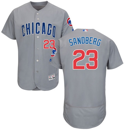 Men's Majestic Chicago Cubs #23 Ryne Sandberg Grey Road Flex Base Authentic Collection MLB Jersey
