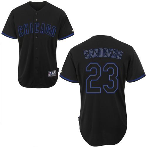 Men's Majestic Chicago Cubs #23 Ryne Sandberg Replica Black Fashion MLB Jersey