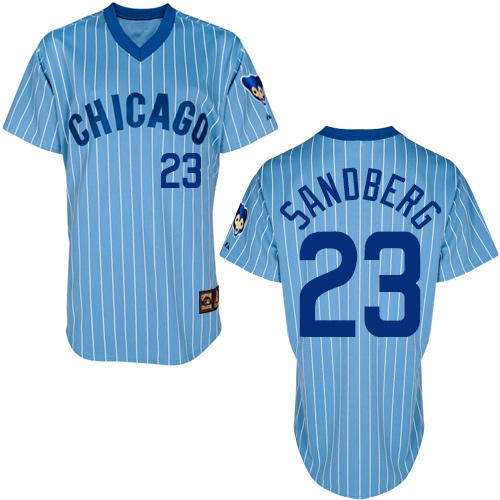 Men's Majestic Chicago Cubs #23 Ryne Sandberg Replica Blue/White Strip Cooperstown Throwback MLB Jersey