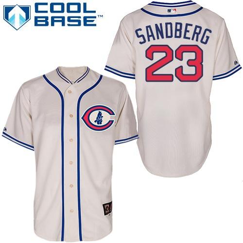 Men's Majestic Chicago Cubs #23 Ryne Sandberg Replica Cream 1929 Turn Back The Clock MLB Jersey
