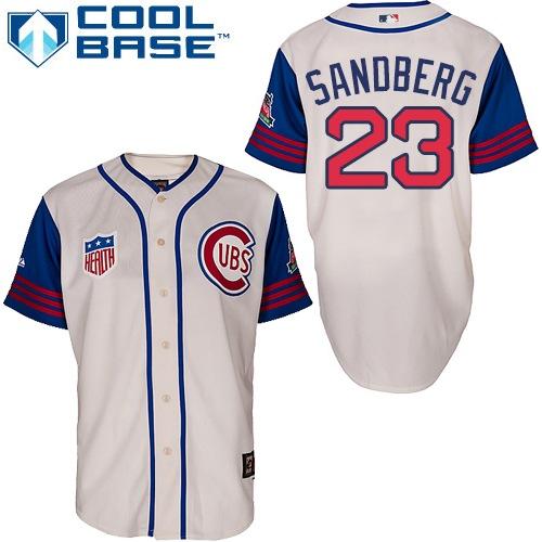 Men's Majestic Chicago Cubs #23 Ryne Sandberg Replica Cream/Blue 1942 Turn Back The Clock MLB Jersey