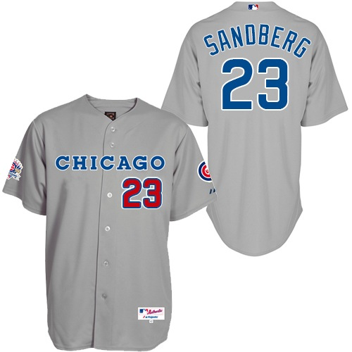 Men's Majestic Chicago Cubs #23 Ryne Sandberg Replica Grey 1990 Turn Back The Clock MLB Jersey