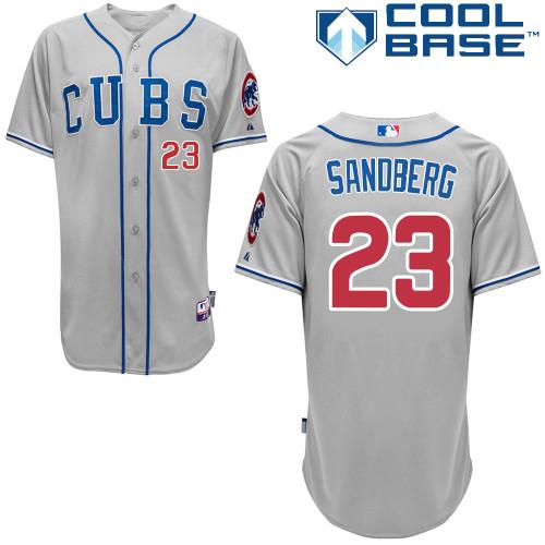 Men's Majestic Chicago Cubs #23 Ryne Sandberg Replica Grey Alternate Road Cool Base MLB Jersey