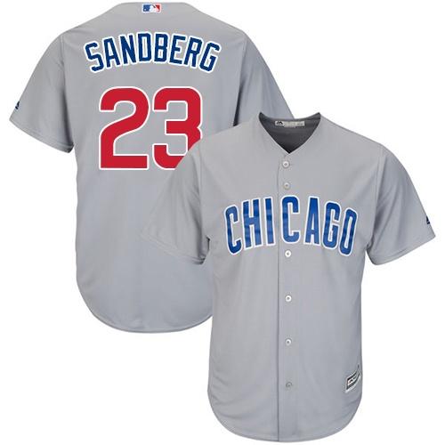 Men's Majestic Chicago Cubs #23 Ryne Sandberg Replica Grey Road Cool Base MLB Jersey