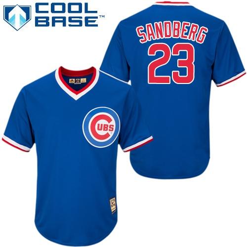 Men's Majestic Chicago Cubs #23 Ryne Sandberg Replica Royal Blue Cooperstown MLB Jersey