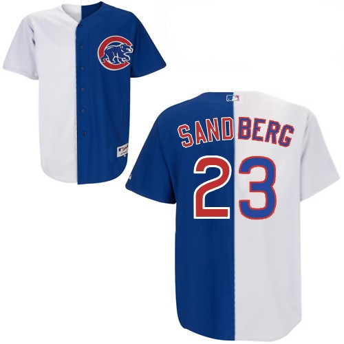 Men's Majestic Chicago Cubs #23 Ryne Sandberg Replica White/Blue Split Fashion MLB Jersey