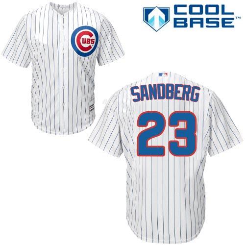 Men's Majestic Chicago Cubs #23 Ryne Sandberg Replica White Home Cool Base MLB Jersey