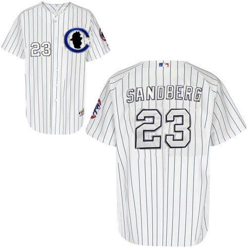 Men's Majestic Chicago Cubs #23 Ryne Sandberg Replica White Sliver NO.-3 Patch MLB Jersey