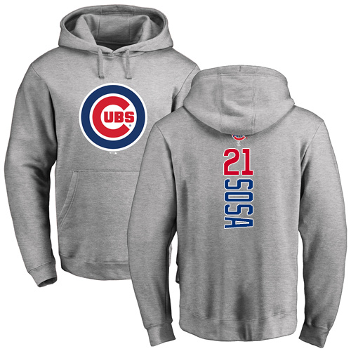 MLB Nike Chicago Cubs #21 Sammy Sosa Ash Backer Pullover Hoodie