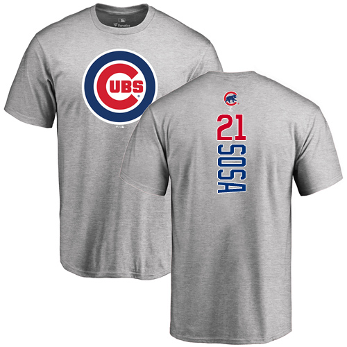 MLB Nike Chicago Cubs #21 Sammy Sosa Ash Backer T-Shirt