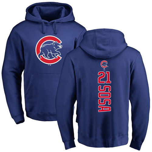 MLB Nike Chicago Cubs #21 Sammy Sosa Royal Blue Backer Pullover Hoodie