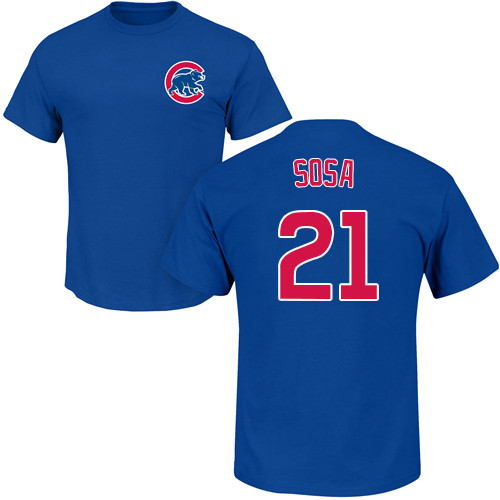 MLB Nike Chicago Cubs #21 Sammy Sosa Royal Blue Name & Number T-Shirt