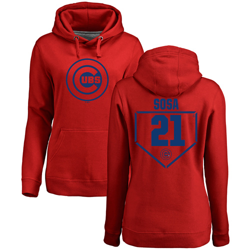 MLB Women's Nike Chicago Cubs #21 Sammy Sosa Red RBI Pullover Hoodie