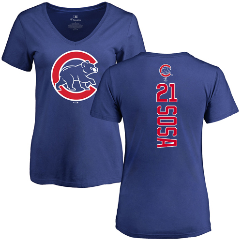 MLB Women's Nike Chicago Cubs #21 Sammy Sosa Royal Blue Backer T-Shirt