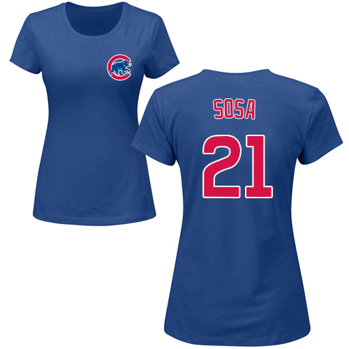 MLB Women's Nike Chicago Cubs #21 Sammy Sosa Royal Blue Name & Number T-Shirt