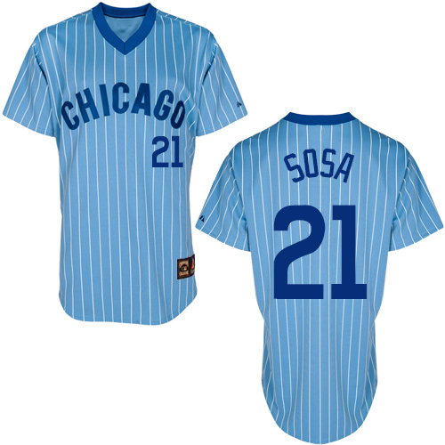 Men's Majestic Chicago Cubs #21 Sammy Sosa Authentic Blue/White Strip Cooperstown Throwback MLB Jersey