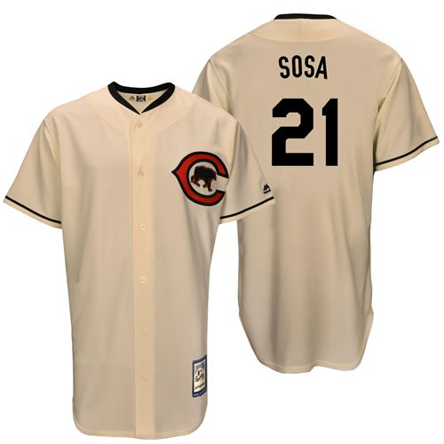Men's Majestic Chicago Cubs #21 Sammy Sosa Authentic Cream Cooperstown Throwback MLB Jersey