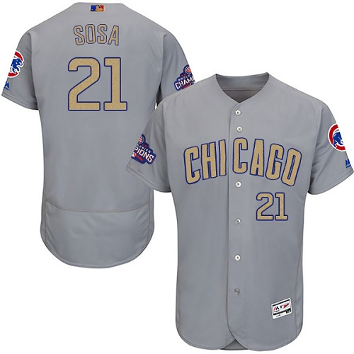 Men's Majestic Chicago Cubs #21 Sammy Sosa Authentic Gray 2017 Gold Champion Flex Base MLB Jersey