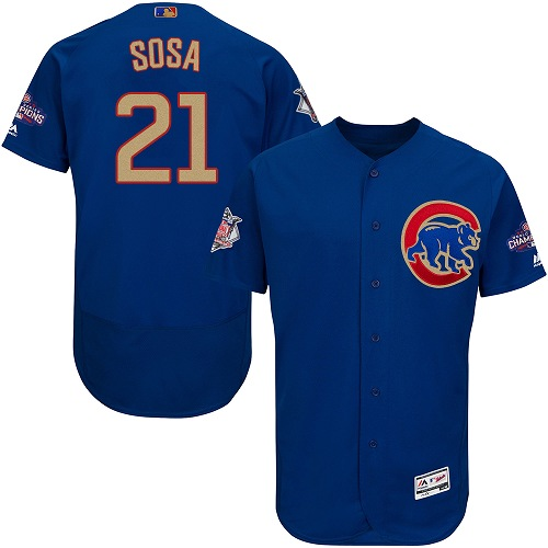 Men's Majestic Chicago Cubs #21 Sammy Sosa Authentic Royal Blue 2017 Gold Champion Flex Base MLB Jersey