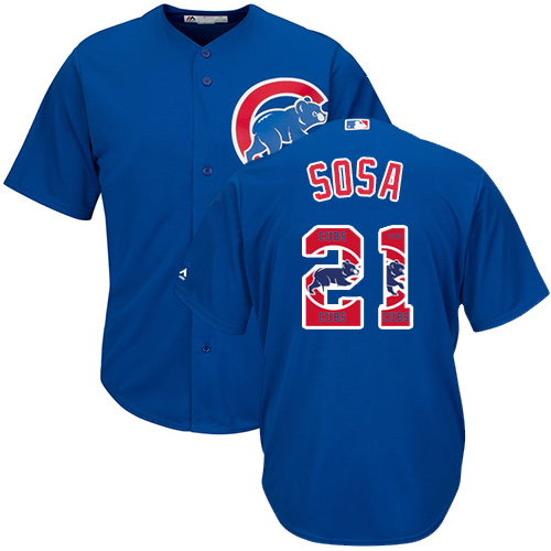 Men's Majestic Chicago Cubs #21 Sammy Sosa Authentic Royal Blue Team Logo Fashion Cool Base MLB Jersey