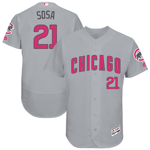 Men's Majestic Chicago Cubs #21 Sammy Sosa Grey Mother's Day Flexbase Authentic Collection MLB Jersey
