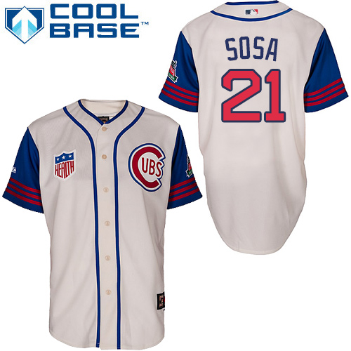 Men's Majestic Chicago Cubs #21 Sammy Sosa Replica Cream/Blue 1942 Turn Back The Clock MLB Jersey