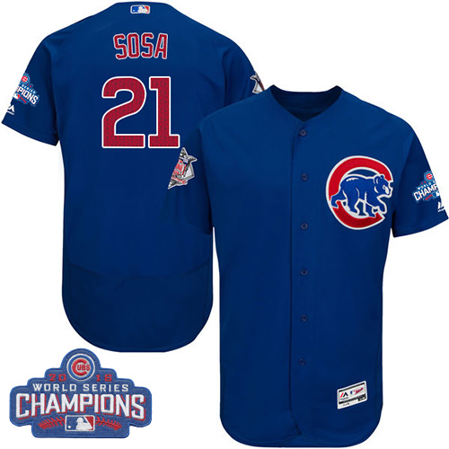 Men's Majestic Chicago Cubs #21 Sammy Sosa Royal Blue 2016 World Series Champions Flexbase Authentic Collection MLB Jersey