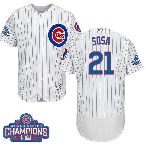 Men's Majestic Chicago Cubs #21 Sammy Sosa White 2016 World Series Champions Flexbase Authentic Collection MLB Jersey