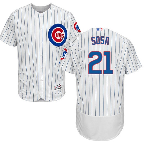 Men's Majestic Chicago Cubs #21 Sammy Sosa White Home Flex Base Authentic Collection MLB Jersey