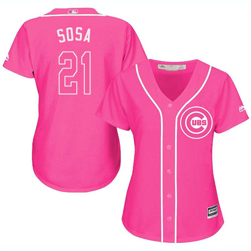 Women's Majestic Chicago Cubs #21 Sammy Sosa Authentic Pink Fashion MLB Jersey