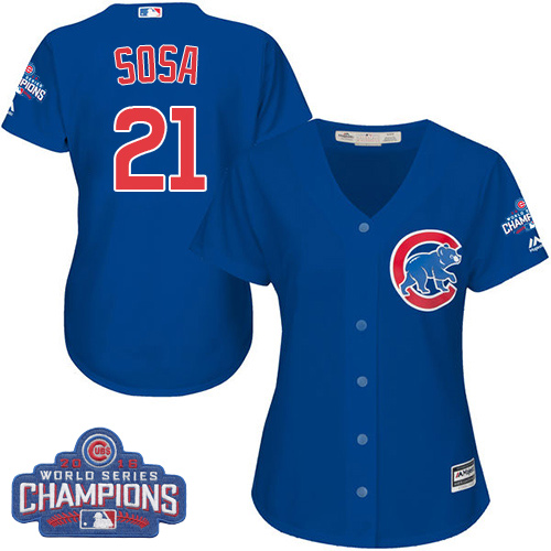 Women's Majestic Chicago Cubs #21 Sammy Sosa Authentic Royal Blue Alternate 2016 World Series Champions Cool Base MLB Jersey