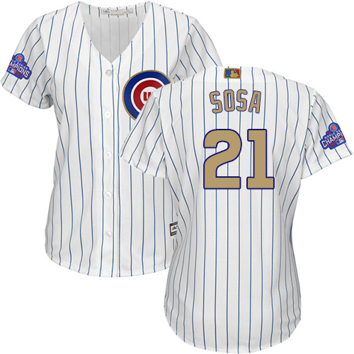 Women's Majestic Chicago Cubs #21 Sammy Sosa Authentic White 2017 Gold Program MLB Jersey