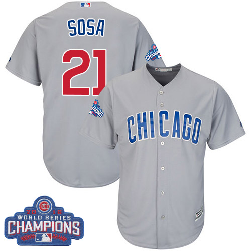 Youth Majestic Chicago Cubs #21 Sammy Sosa Authentic Grey Road 2016 World Series Champions Cool Base MLB Jersey