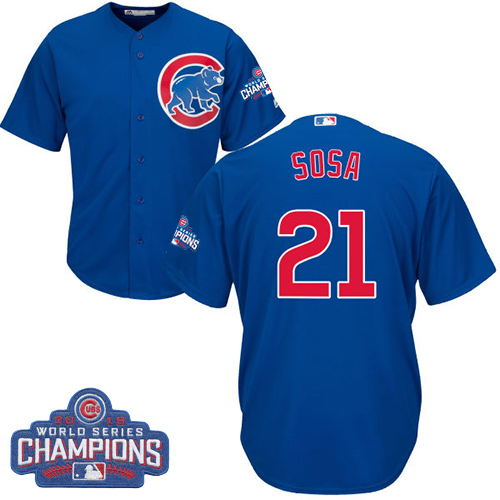 Youth Majestic Chicago Cubs #21 Sammy Sosa Authentic Royal Blue Alternate 2016 World Series Champions Cool Base MLB Jersey