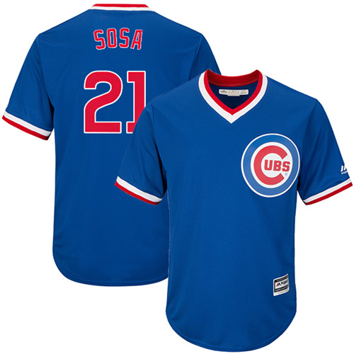 Youth Majestic Chicago Cubs #21 Sammy Sosa Authentic Royal Blue Cooperstown Cool Base MLB Jersey