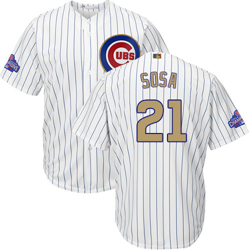 Youth Majestic Chicago Cubs #21 Sammy Sosa Authentic White 2017 Gold Program Cool Base MLB Jersey