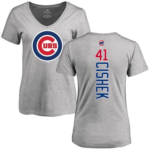MLB Women's Nike Chicago Cubs #41 Steve Cishek Ash Backer T-Shirt