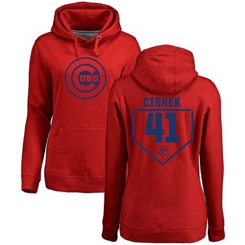 MLB Women's Nike Chicago Cubs #41 Steve Cishek Red RBI Pullover Hoodie