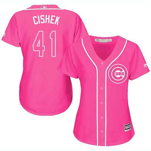 Women's Majestic Chicago Cubs #41 Steve Cishek Authentic Pink Fashion MLB Jersey