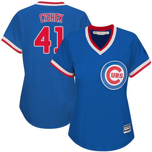 Women's Majestic Chicago Cubs #41 Steve Cishek Authentic Royal Blue Cooperstown MLB Jersey