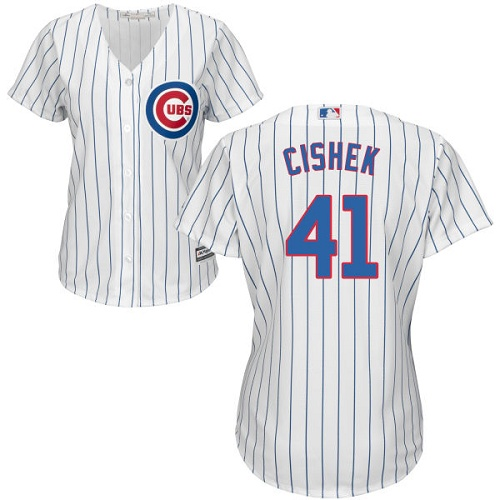 Women's Majestic Chicago Cubs #41 Steve Cishek Authentic White Home Cool Base MLB Jersey