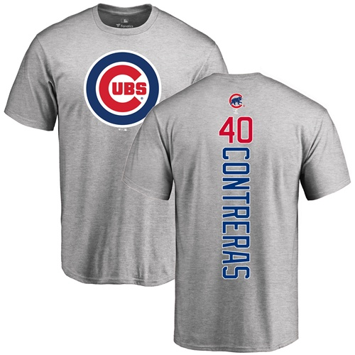 MLB Nike Chicago Cubs #40 Willson Contreras Ash Backer T-Shirt