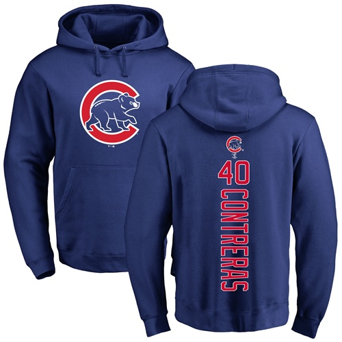 MLB Nike Chicago Cubs #40 Willson Contreras Royal Blue Backer Pullover Hoodie