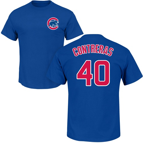 MLB Nike Chicago Cubs #40 Willson Contreras Royal Blue Name & Number T-Shirt