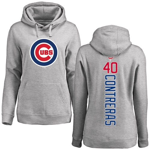 MLB Women's Nike Chicago Cubs #40 Willson Contreras Ash Backer Pullover Hoodie