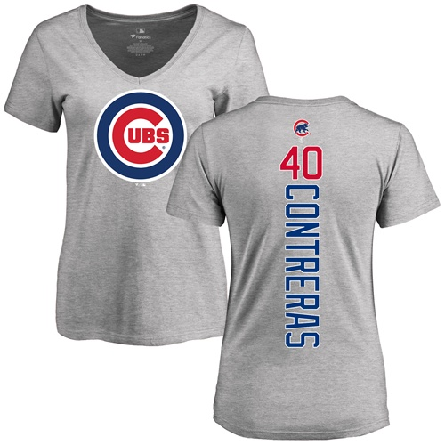 MLB Women's Nike Chicago Cubs #40 Willson Contreras Ash Backer T-Shirt