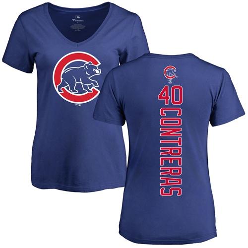 MLB Women's Nike Chicago Cubs #40 Willson Contreras Royal Blue Backer T-Shirt