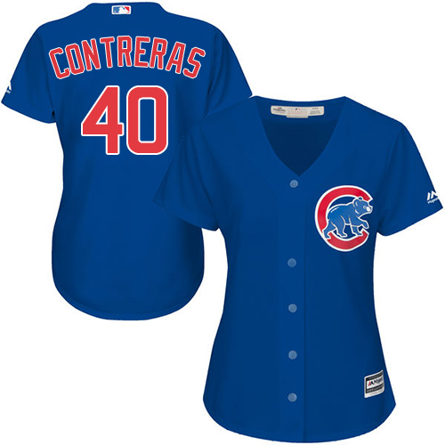 Women's Majestic Chicago Cubs #40 Willson Contreras Authentic Royal Blue Alternate MLB Jersey