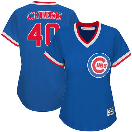 Women's Majestic Chicago Cubs #40 Willson Contreras Authentic Royal Blue Cooperstown MLB Jersey