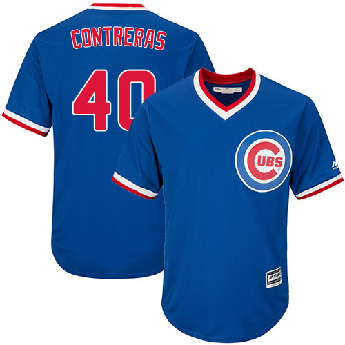 Youth Majestic Chicago Cubs #40 Willson Contreras Authentic Royal Blue Cooperstown Cool Base MLB Jersey
